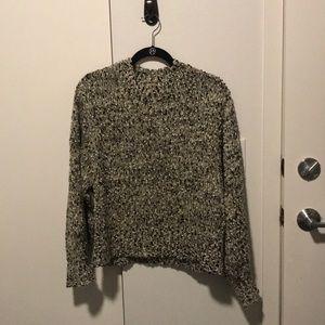 Anthropologie b&w cozy popcorn sweater